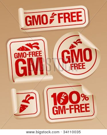 GMO free stickers set for healthy food.