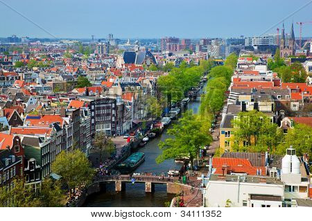 Amsterdam panorama, Holland, Netherlands. City view from Westerkerk