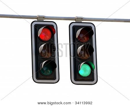Traffic Lights Red And Green Over White