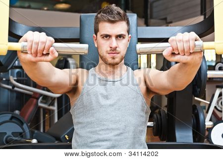 Man training in a fitness club