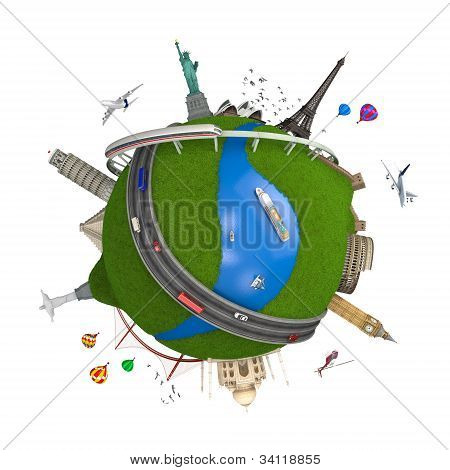 World Travel Globe Concept Isolated