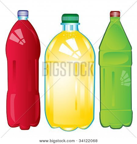 Bottles With Carbonated Water Of The Miscellaneous Of The Colour