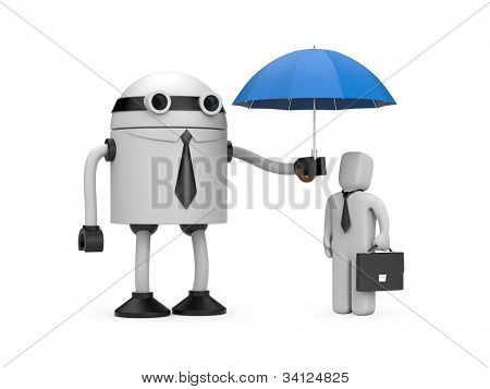 Robot is holding an umbrella over businessman. Image contain clipping path