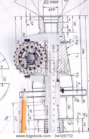 Calliper With Part On Engineering Drawing