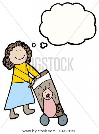 authentic looking child's drawing of a woman with pushchair