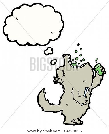 cartoon wolf brushing teeth