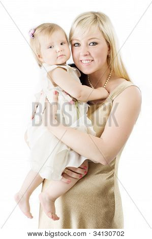 Happy Mother Holding Smiling One Year Daughter