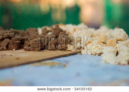 Bread Pieses Stock Image Unfocus