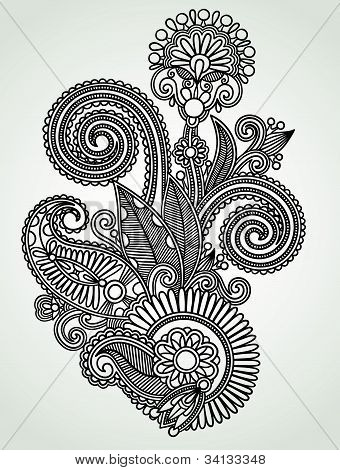 Henna Floral Tattoo Design, Ornamental Decoration