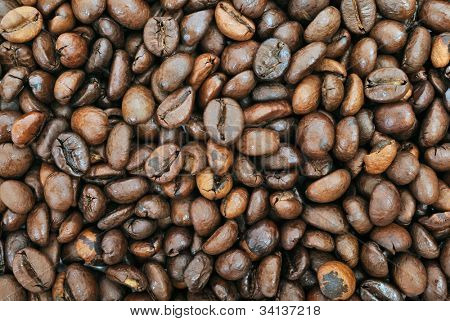 coffee beans background. closeup