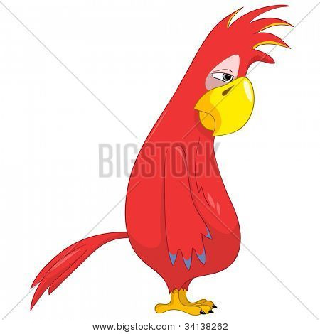 Cartoon Character Funny Parrot Isolated on White Background. Sad. Vector EPS 10.