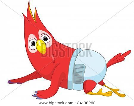 Cartoon Character Funny Baby Parrot Isolated on White Background. Vector EPS 10.