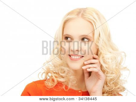 imagens de estúdio brilhante da bela adolescente pensativa