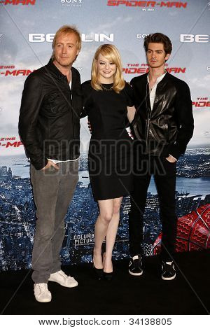 BERLIN - JUN 20: Rhys Ifans, Andrew Garfield, Emma Stone at the photo call for