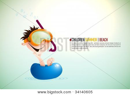 Cute Boy Enjoying Summer At The Beach | Layered EPS10 Vector Background