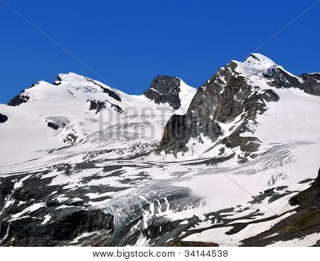 Strahlhorn,Rimpfischhorn and Allalinhorn in the Swiss Alps