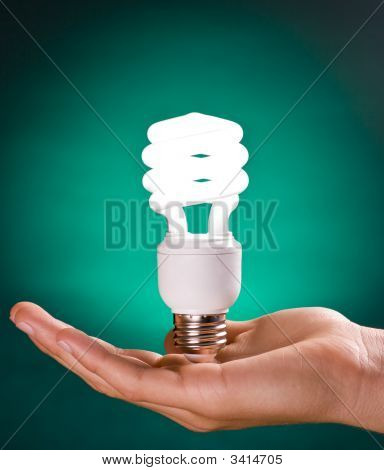 Compact Fluorescent Light Bulb In Hand