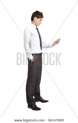 portrait of asian businessman with smart phone