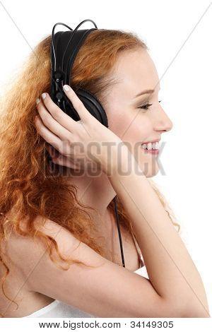 Redhead Listening To Music