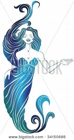 Smiling Pretty Girl In Long Flowing Evening Dress. Makes Hand Gesture Of Invitation