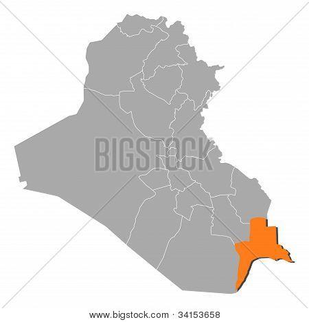 Map Of Iraq, Basra Highlighted