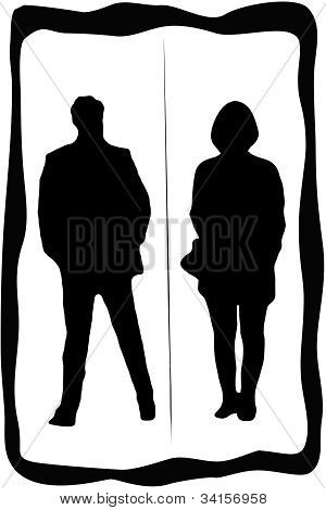 Toilet sign with man and woman with dividing line