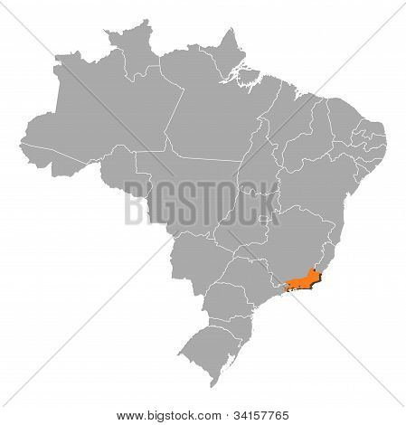 Map Of Brazil, Rio De Janeiro Highlighted