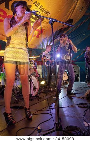 Yasmin Licinio from Exeter based band N.U.M.B. performing live in the World Big Top