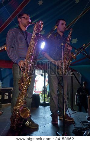 Josef Stout and  John McNaughton from the Afro-Funk band Bronzehead performing live in the World Big