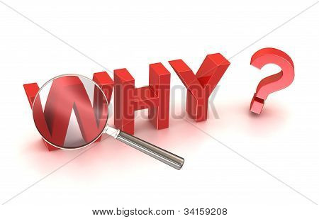Stock Photo: why reason cause source search button