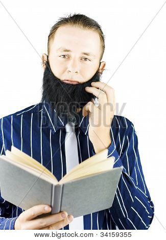 Smart Man Reading Book Of Knowledge