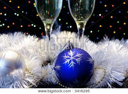 Esferas de Champagne y de año nuevo