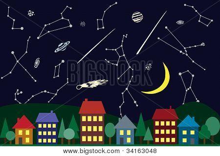 Illustration Of Night Sky Above The City