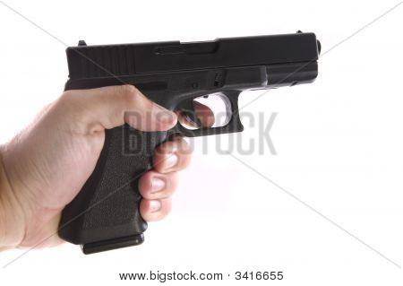 Pistol On A White Background