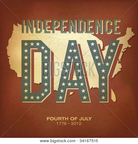 Retro style poster for Independence Day Celebration. Vector illustration, EPS 10