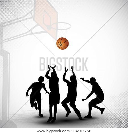 Silhouettes of a basketball players playing basket ball match on abstract grungy basketball court background. EPS 10.