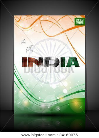 Flyer, brochure or cover design in Indian trio color with text India. EPS 10.