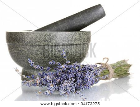 Lavender flowers with mortar isolated on white