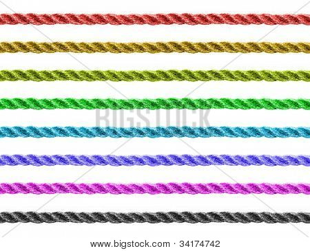 Seamless colorful twine set isolated for continuous replicate.