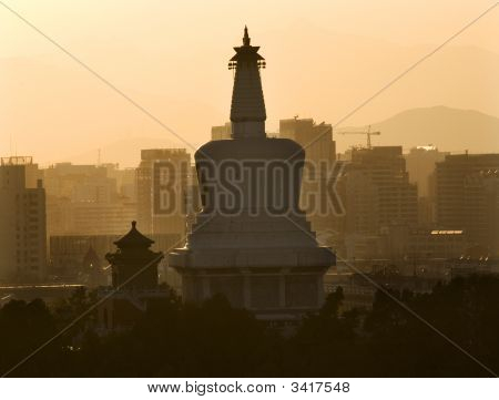 Beihai Stupa Pagoda Sunset Beijing China