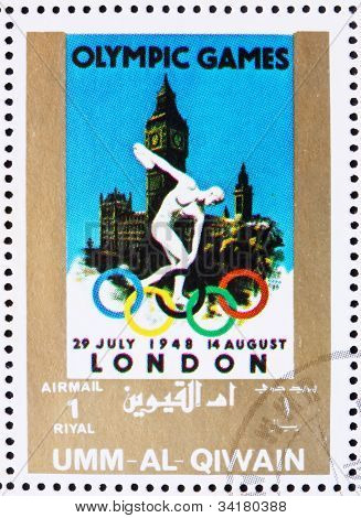 Postage stamp Umm al-Quwain 1972 London 1948, Olympic Games of t