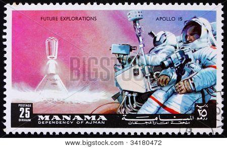 Postage stamp Manama 1972 Astronaut with Camera, Apollo 15