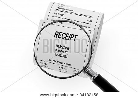 Magnifying Glass & Shopping Receipt