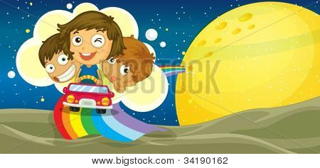 illustration of kids driving car on rainbow