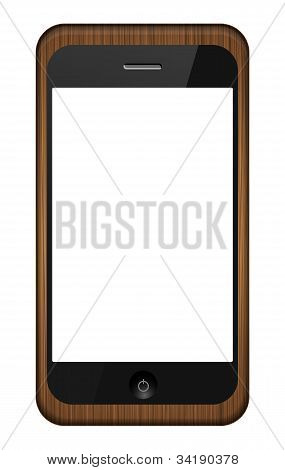 Vector Smartphone In A Wooden Cover Isolated On White. Eps 10