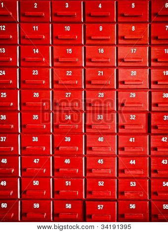 Numbered Red Wooden Cases