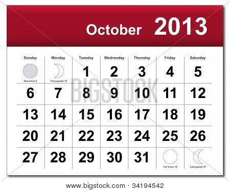 October 2013 Calendar