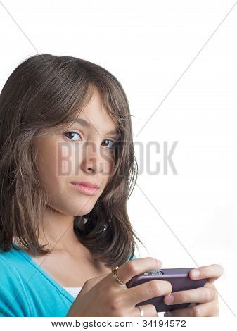 Pretty young girl texting