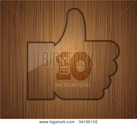 Vector Wooden Thumbs Up. Business Background Design. Easy To Edit. Eps 10