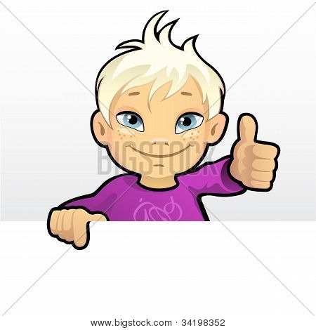 Smiling Boy Showing Thumb